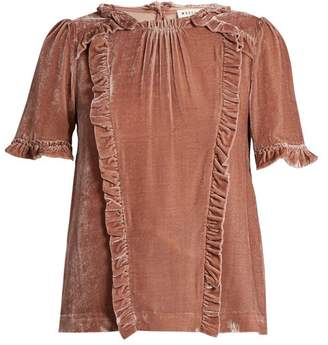 Masscob Ruffle-trimmed short-sleeved velvet top