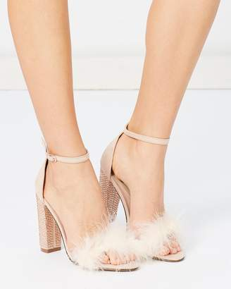 Missguided Glitter Feather Block Heels