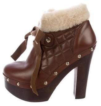 RED Valentino Leather Shearling-Trimmed Boots