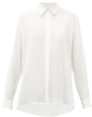 The Row Carla Long Sleeved Chiffon Shirt - Womens - Ivory