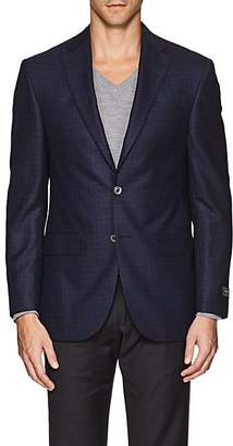 Jack Victor MEN'S PLAID WOOL TWO-BUTTON SPORTCOAT - NAVY SIZE 44 L