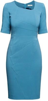 Rumour London Amelie Atlantic Blue Fitted Knee Length Dress With Asymmetrical Neckline