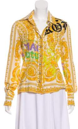 Versace Silk Button-Up Top