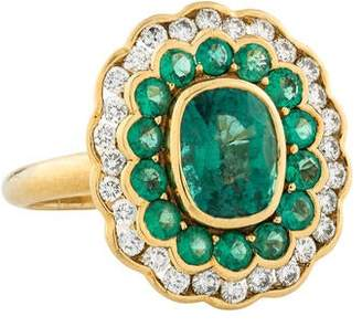 Amrapali 18K Emerald & Diamond Cocktail Ring