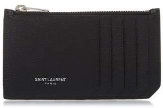 Saint Laurent Grained Leather Cardholder - Mens - Black