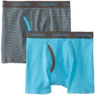 Calvin Klein Boy's 2 Pack Logo and Solid Boxer Briefs