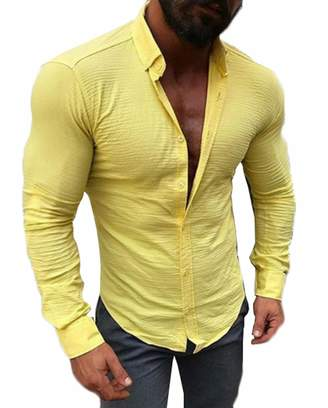 72e718c2 CREAMprice Men Button Down Shirts Long Sleeve Slim Fit Casual Muscle Button  Down Dress Shirt (
