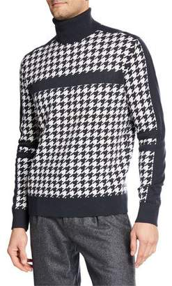 Stefano Ricci Men's Houndstooth Cashmere Turtleneck Sweater