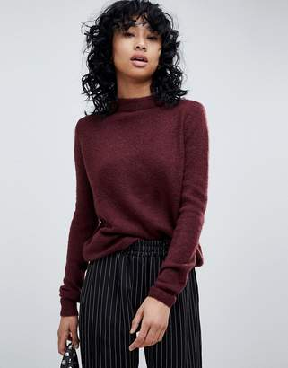 Pieces Ribbed High Neck Wool Blend Jumper