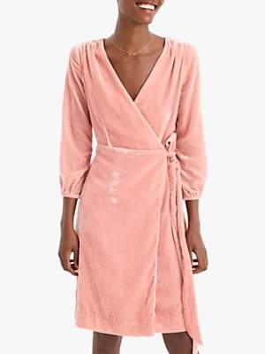 J.Crew Drapey Velvet Wrap Dress, Seashell