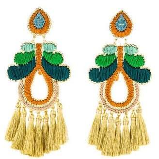 Mercedes Salazar Agate Curubas Negras Tassel Earrings