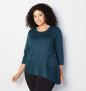 Avenue Side Grommet Lace Up Sweater