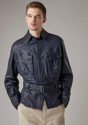 Giorgio Armani Safari Jacket In Garment-Washed Nappa Lambskin With Logo On The Back
