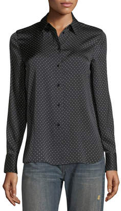 Vince Polka-Dot Button-Front Silk Shirt $325 thestylecure.com