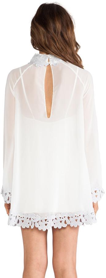 AGAIN Little Edie Parisian Laced Chiffon Bell Sleeve Dress