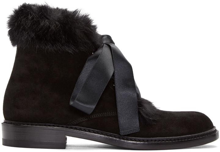 Saint Laurent Black Rabbit Fur Army Boots