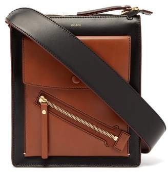 Com Joseph Mortimer Leather Shoulder Bag Womens Black Tan