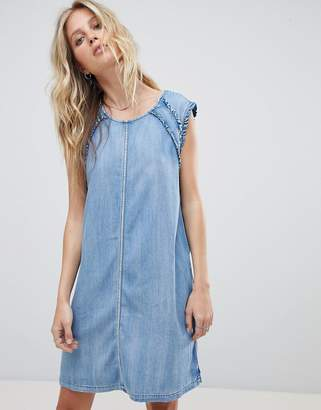 Replay Denim Dress with Ruffle Detail