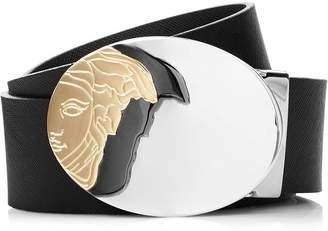 Versace Men's Medusa Head Large Buckle Leather Belt - Black