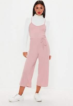 Missguided Petite Pink Rib Culotte Romper