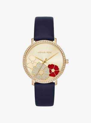 Michael Kors Jaryn Pave Gold-Tone Leather Watch
