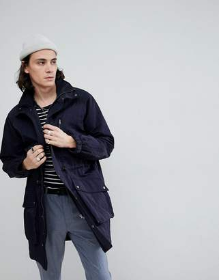 Asos DESIGN parka with funnel neck in navy