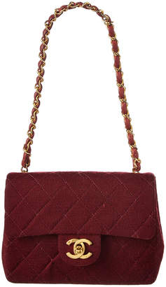 Chanel Burgundy Quilted Jersey Mini Half Flap Bag