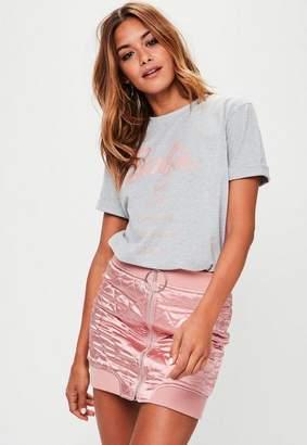 Missguided Barbie x Gray Short Sleeve 'City' T Shirt