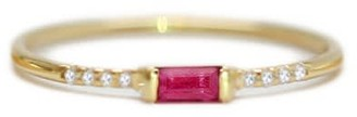 Ri Noor Ruby Baguette & Pave Round Diamond Ring