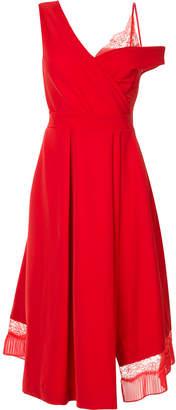Preen by Thornton Bregazzi stretch satin and lace midi dress