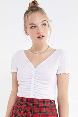 Urban Outfitters Vera Ruched V-Neck Short Sleeve Top