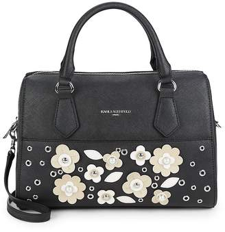Karl Lagerfeld Women's Floral Patch Convertible Satchel