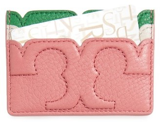Women's Tory Burch Scallop-T Slim Leather Card Case - Pink $95 thestylecure.com