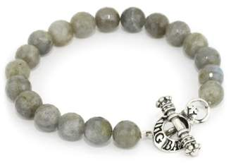 King Baby Studio Men's Labradorite Bead Bracelet with Sterling Silver Toggle