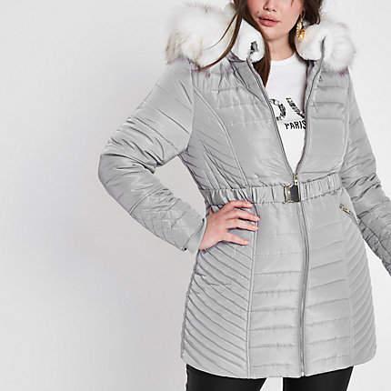 Womens Plus Grey faux fur belted puffer jacket