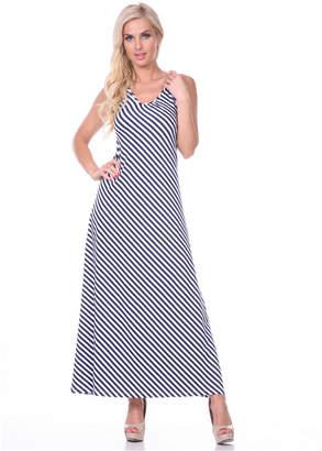 White Mark Women Backless Striped Maxi Dress