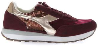 Diadora Heritage Burgundy Sneakers With Suede Inserts And Sequins Applied