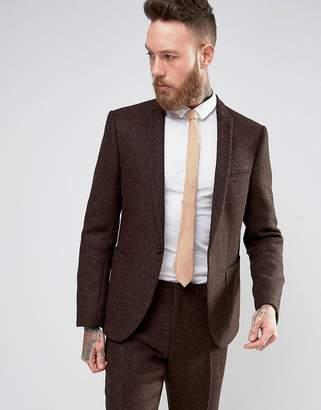 Asos Slim Suit Jacket In Brown Harris Tweed 100% Wool