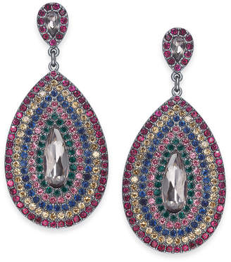 "INC International Concepts I.N.C. Large Hematite-Tone Multicolor Crystal Drop Earrings 1.75"", Created for Macy's"