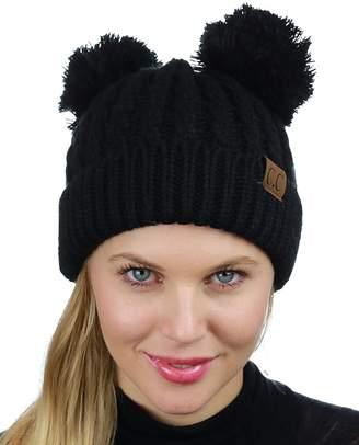 945aba8fd0b at Amazon Canada · C.C 2 Ear Pom Pom Cable Knit Soft Stretch Cuff Skully Beanie  Hat