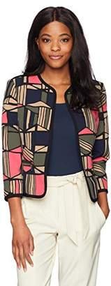 Kasper Women's Printed Crepe Flyaway Jacket