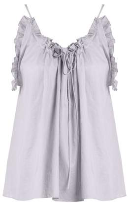 Three Graces London - Erissena Ruffle Trimmed Cotton Pyjama Top - Womens - Light Purple