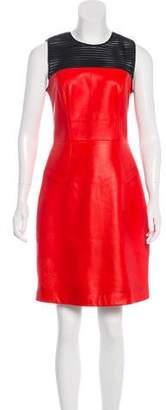 Jason Wu Leather Mesh-Paneled Dress