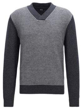 BOSS Hugo V-neck lambswool sweater two-tone jacquard structure XXL Open Grey