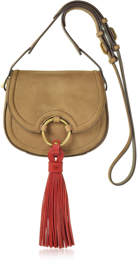 Tory Burch Tory Burch Tassel River Rock Mini Saddle Bag