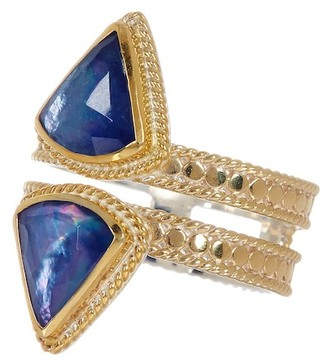 Anna Beck 18K Gold Plated Sterling Silver Double Row Lapis Triplet Ring $275 thestylecure.com