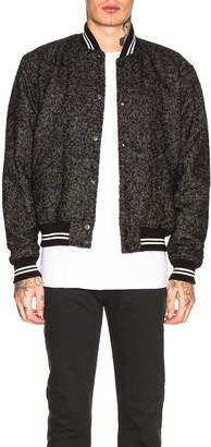 John Elliott Cropped Baseball Jacket in Charcoal Tweed | FWRD