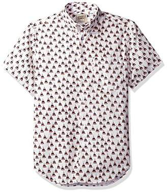 Naked & Famous Denim Men's Teepee Print Short Sleeve Button Down Shirt