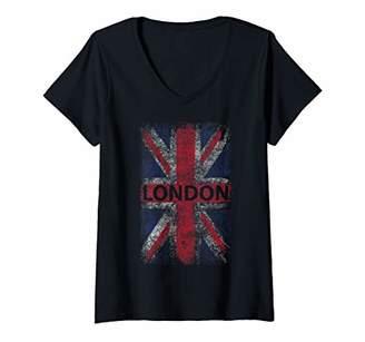 Womens London England Distressed Union Jack V-Neck T-Shirt