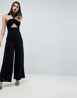 9b9221a8f39d Asos Design DESIGN Cross Front Jumpsuit With Twist Neck And Wide Leg